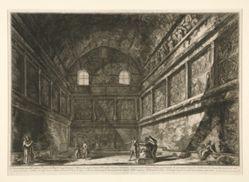 Veduta interna dell'antico Tempio di Bacco (Interior view of the ancient Temple of Bacchus), from Vedute di Roma