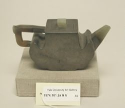 Wine pot with partial jade handle and spout,  jade finial