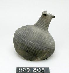 Black ribbed terracotta vase