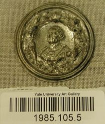 Round Piece of Plated Metal Stamped with Portrait of Christopher Columbus