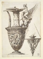 Design for an Elaborate Pitcher and Chandelier