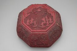 Large Octagonal Red Lacquer Box