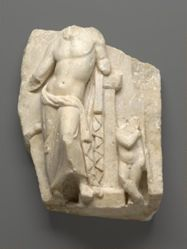 Relief Fragment with Male figure, possibly Apollo, and Child