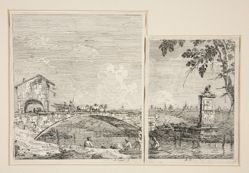 The Wagon Passing over a Bridge [and] The Little Monument (under a Tree), from the series Vedute (Views)