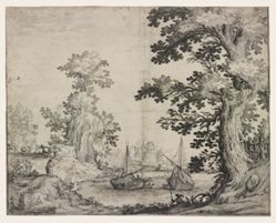 Landscape with a river between trees and hills,  two ships in the center