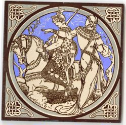 "One of a set of Minton tiles: ""Lynette"""