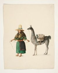 Indian Woman and Llama