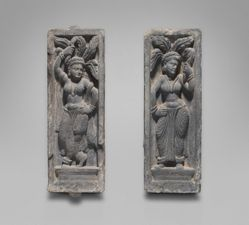 Pair of panels with semi-divinities known as yakshis