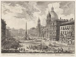Veduta di Piazza Navona sopra le rovine del Circo Agonale (View of the Piazza Navona above the Ruins of the Circus of Domitian), from Vedute di Roma (Views of Rome)