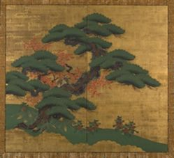 Pine Trees with a Pair of Wagtails ( or Thrushes) and Bamboo