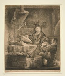 "Jan Uytenbogaert. ""The Goldweigher"": reworked plate, modern impression"