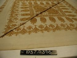 Bed spread of cotton cloth, embroidered in silk
