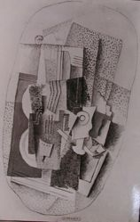 "Photograph of Georges Braque's ""Music,"" 1914, oil [Phillips Collection] -- from Katherine S. Dreier's private collection"