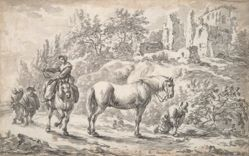 Peasants and Horses Near the Ruins of a Castle