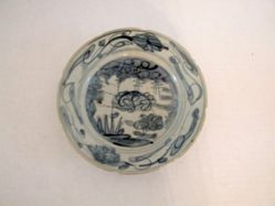 Deep blue and white dish