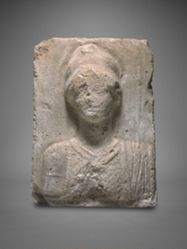 Plaster block with relief bust of Athena