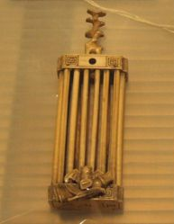Rectangular Cricket Cage with Bat, Lotus, and Bamboo Decor