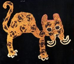 Pampas Cat Motif from a Mantle or Hanging