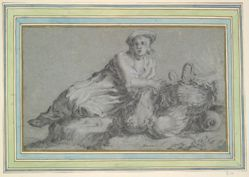 Boy with Two Hens and a Basket