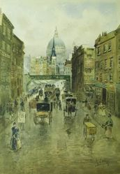 London: Street Scene with St. Paul's in Distance
