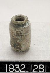 Green-glazed cylindrical vase