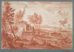 Landscape with sarcophagus and figures