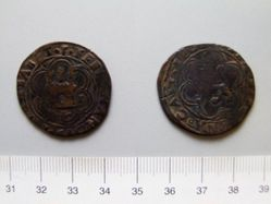 Bronze centavo of Ferdinand II and Isabella