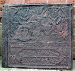 """Stove plate, """"God's Well Has Water in Plenty"""" """"The Masters of Martie"""" or Martic"""