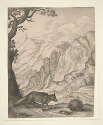 The Fox and the Porcupine, from the book Aesopic's: Or A Second Collection of Fables, Paraphras'd in Verse: Adorn'd with Sculpture, and Illustrated with Annotations by John Ogilby (London: Printed by Thomas Roycroft, 1668)