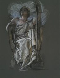 """Study for the figure of The Genius of Pennsylvania in """"The Apotheosis of Pennsylvania,"""" mural in the House Chamber, Pennsylvania State Capitol at Harrisburg"""