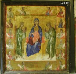 Virgin and Child Surrounded by Heads of Saints and Prophets