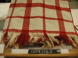 Red and White Woven Coverlet