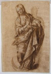 A draped female figure