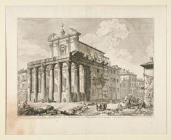 Veduta del Tempio di Antonino e Faustina in Campo Vaccino. (View of the Temple of Antoninus and Faustina in the Roman Forum.), from Vedute di Roma