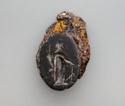Carved Intaglio Gemstone with standing figure of Fortuna