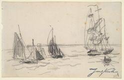 Small Sailboats and a Three-Master