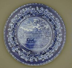 Plate with a view of Boston, Hospital (with sea wall)