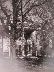 "Exterior view of Katherine S. Dreier's West Redding home, ""The Haven"" -- portico with apple trees"