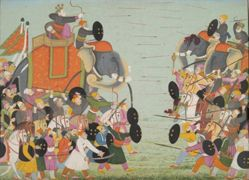 Battle between Krishna's Brother Balarama and Jarasandha, from a History of the Lord (Bhagavata Purana) manuscript