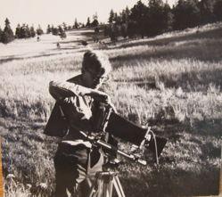 Robert Adams photographing at the Calvert Ranch, west of Denver