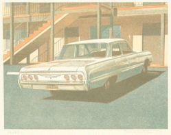 Four Chevies (car at motel)