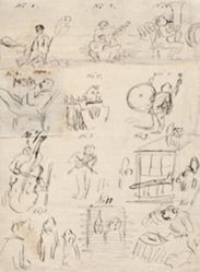 Sheet of Sequential Drawings About Music