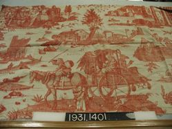 """Length of printed linen, """"Fording the Stream"""""""