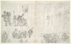 Compositional studies (recto); Christ at the Pool of Bethesda (verso)