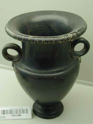 Black glaze krater with snake handles