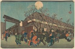 Night Procession under Cherry Blossoms along the Nakanochō at Shin Yoshiwara
