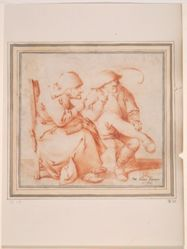 Old Peasant Couple Seated