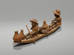 Thorn Carving of Two Male Figures in a Boat