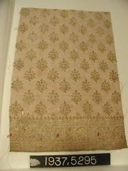 Piece of a sari made with brocaded plain cloth