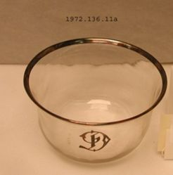 18 Finger Bowls: Silver Mounted Crystal Dinner Service